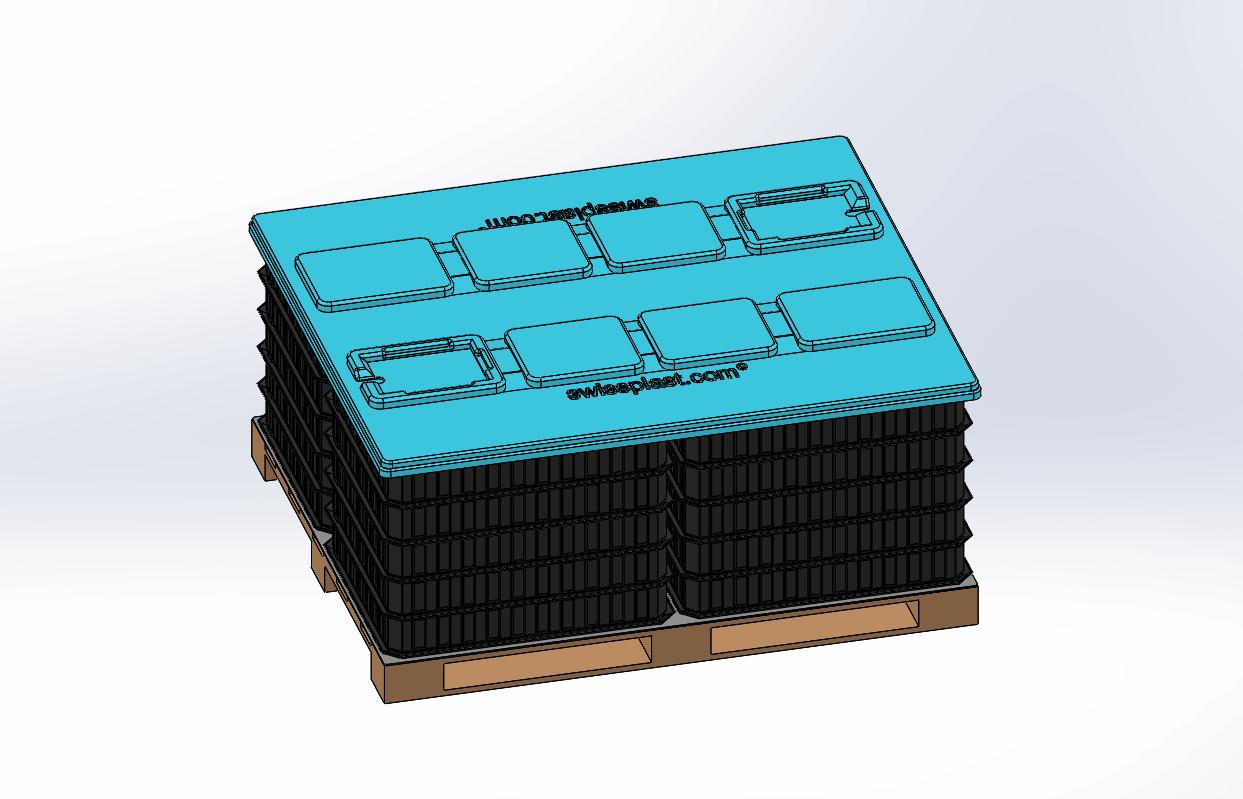 individuell angepasste Deckelin blau mit swissplast Logo