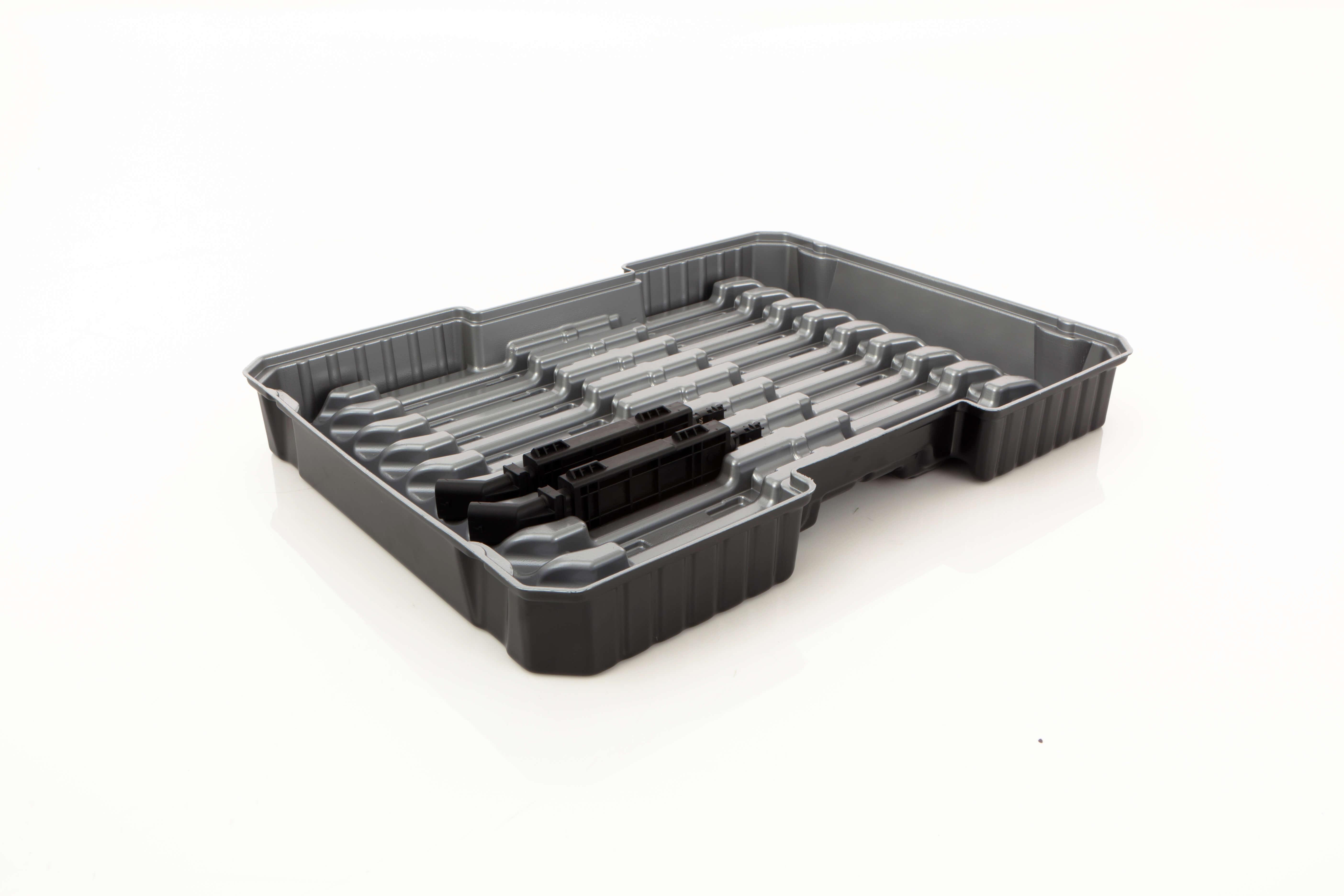 grauer Werkstückträger mit zwei gelagerten Produkten