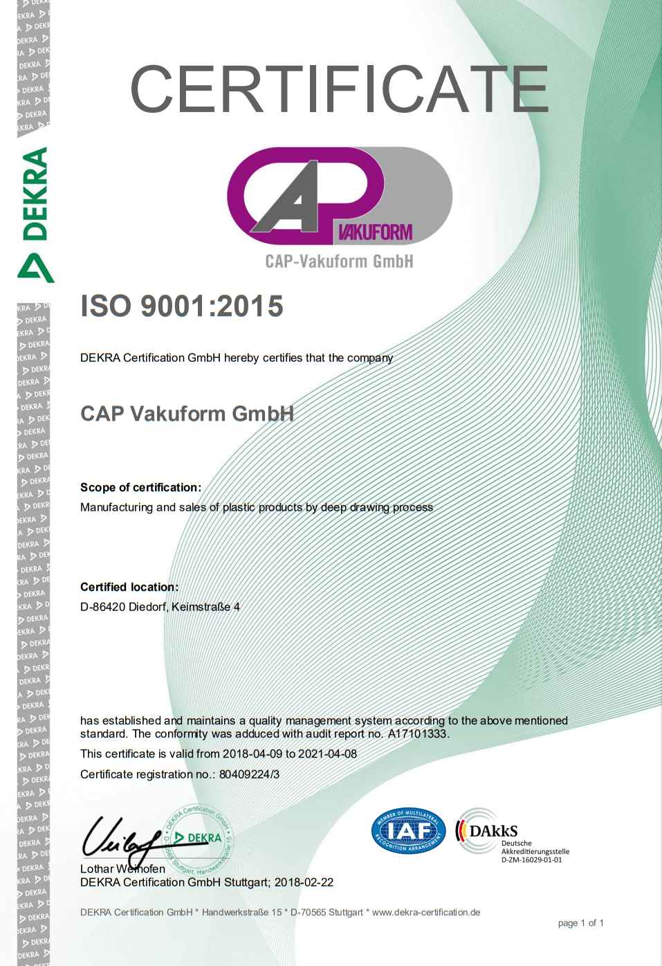 CAP Vakuform GmbH certificate for manufacturing and sales of deepdrawn plastic products