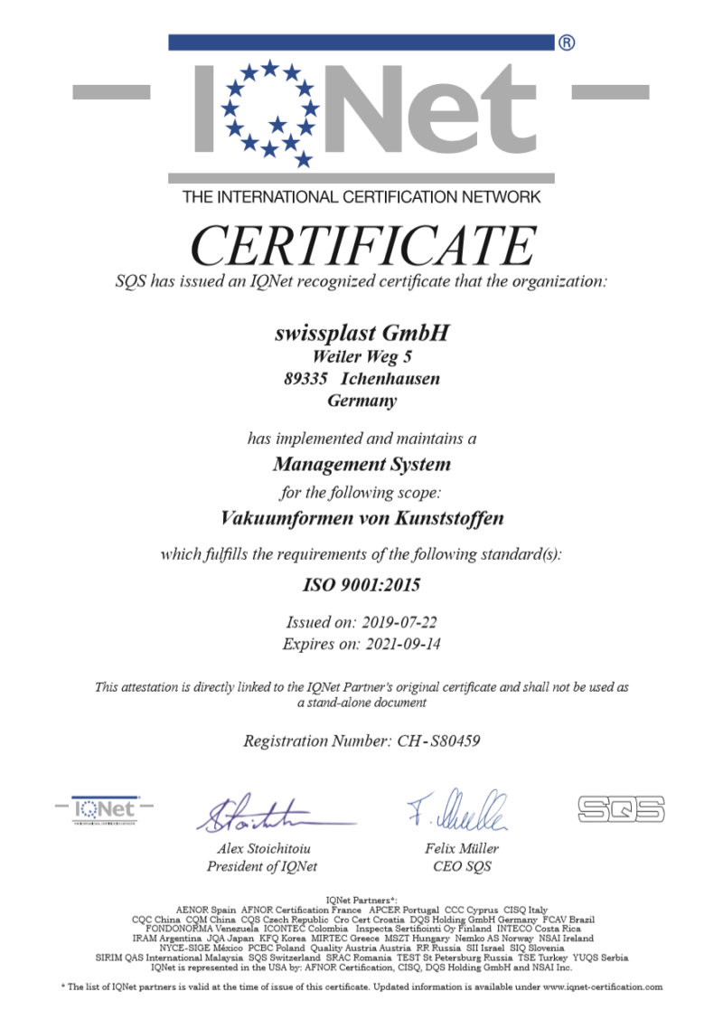 Certification for implementing a management system swissplast GmbH