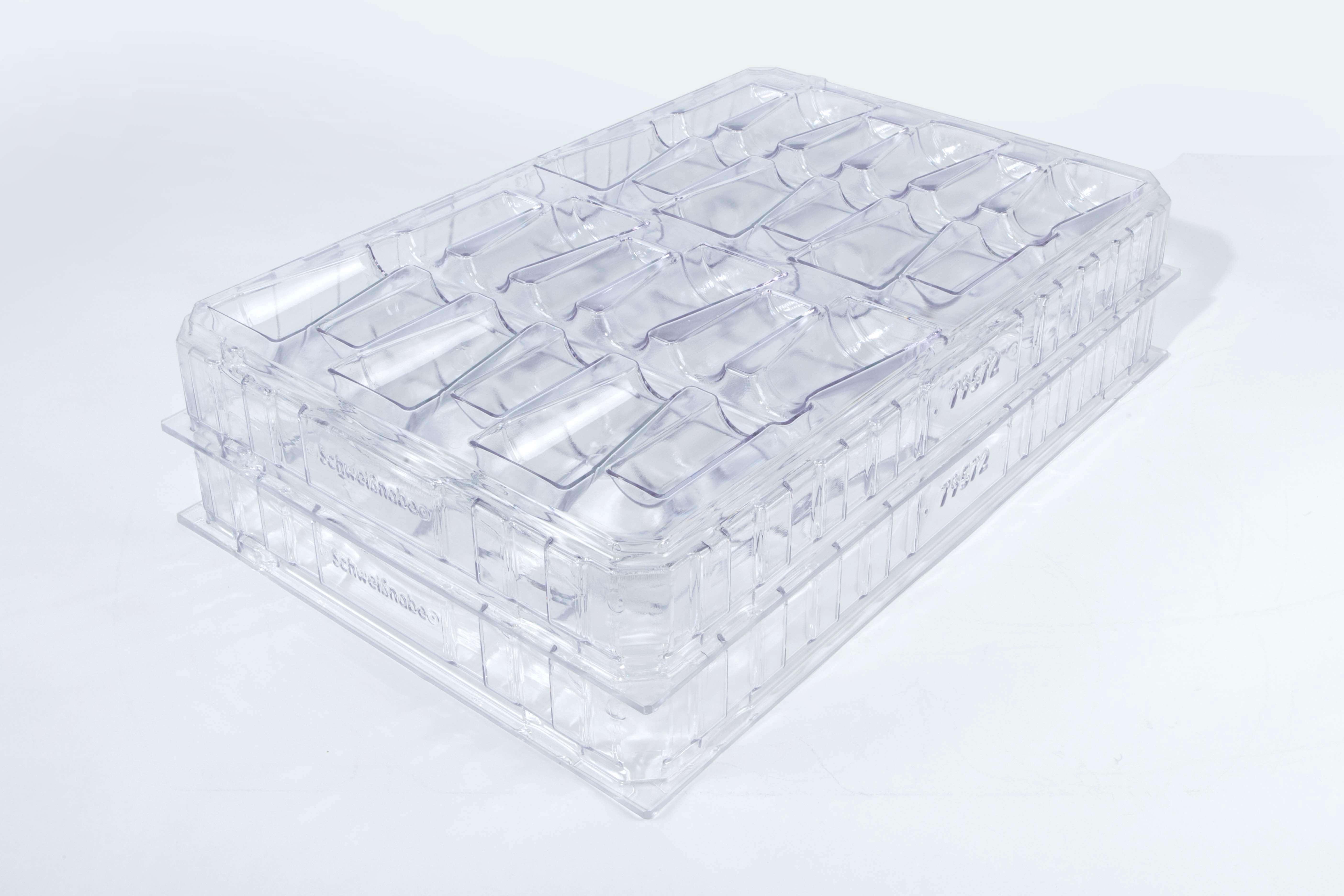 Transparente, gestapelte Klappverpackungen für Produkte