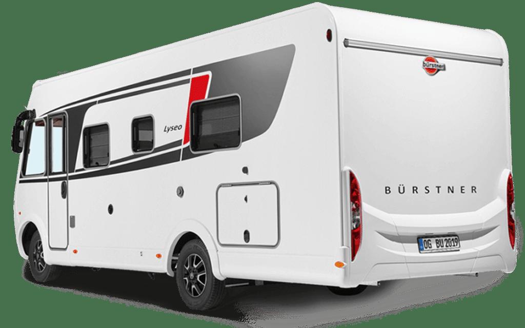 Heckansicht des weißen Bürstner Reisemobils mit rot-schwarzen Akzenten