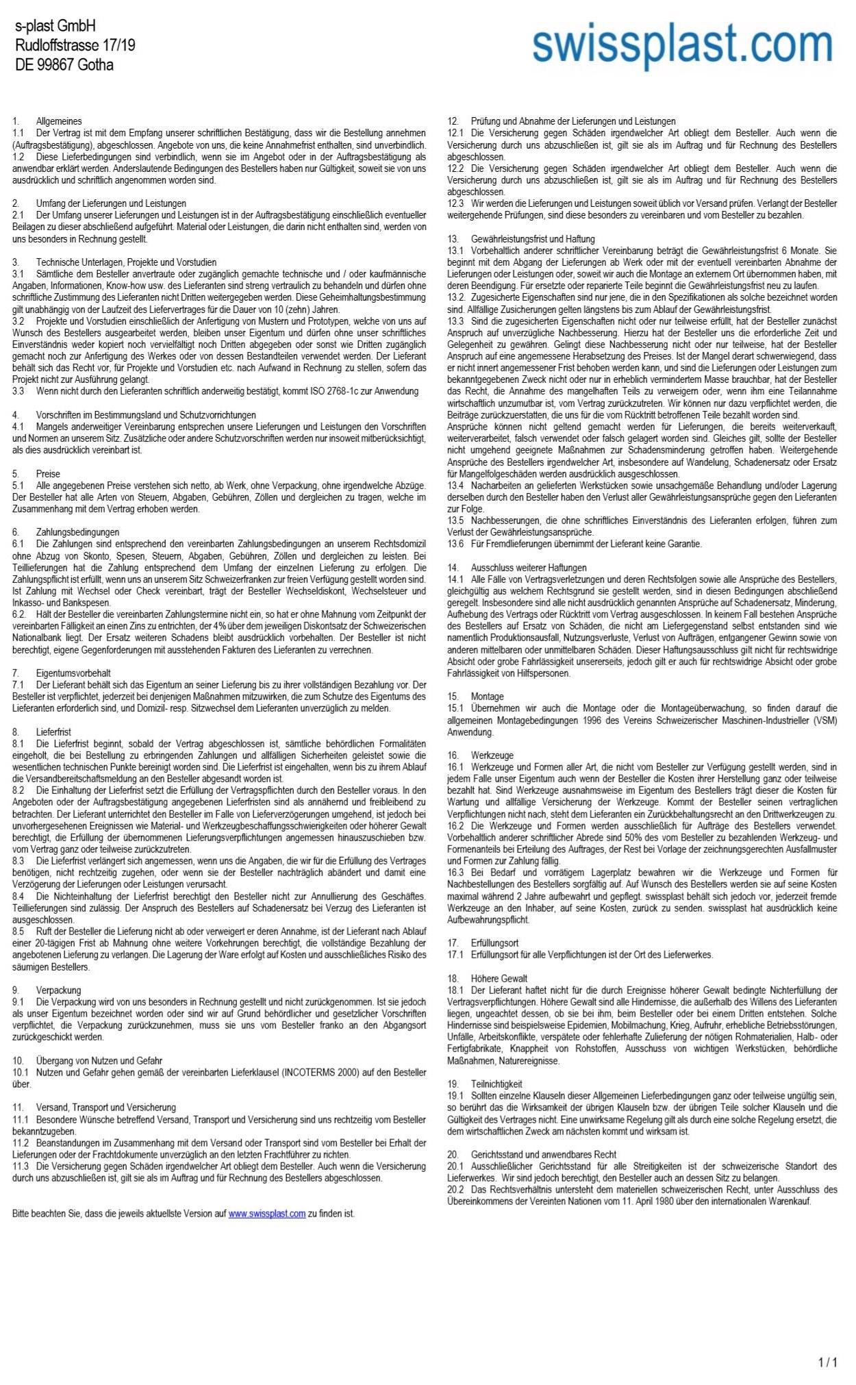 Die allgemeinen Geschäftsbedingungen der s-plast GmbH