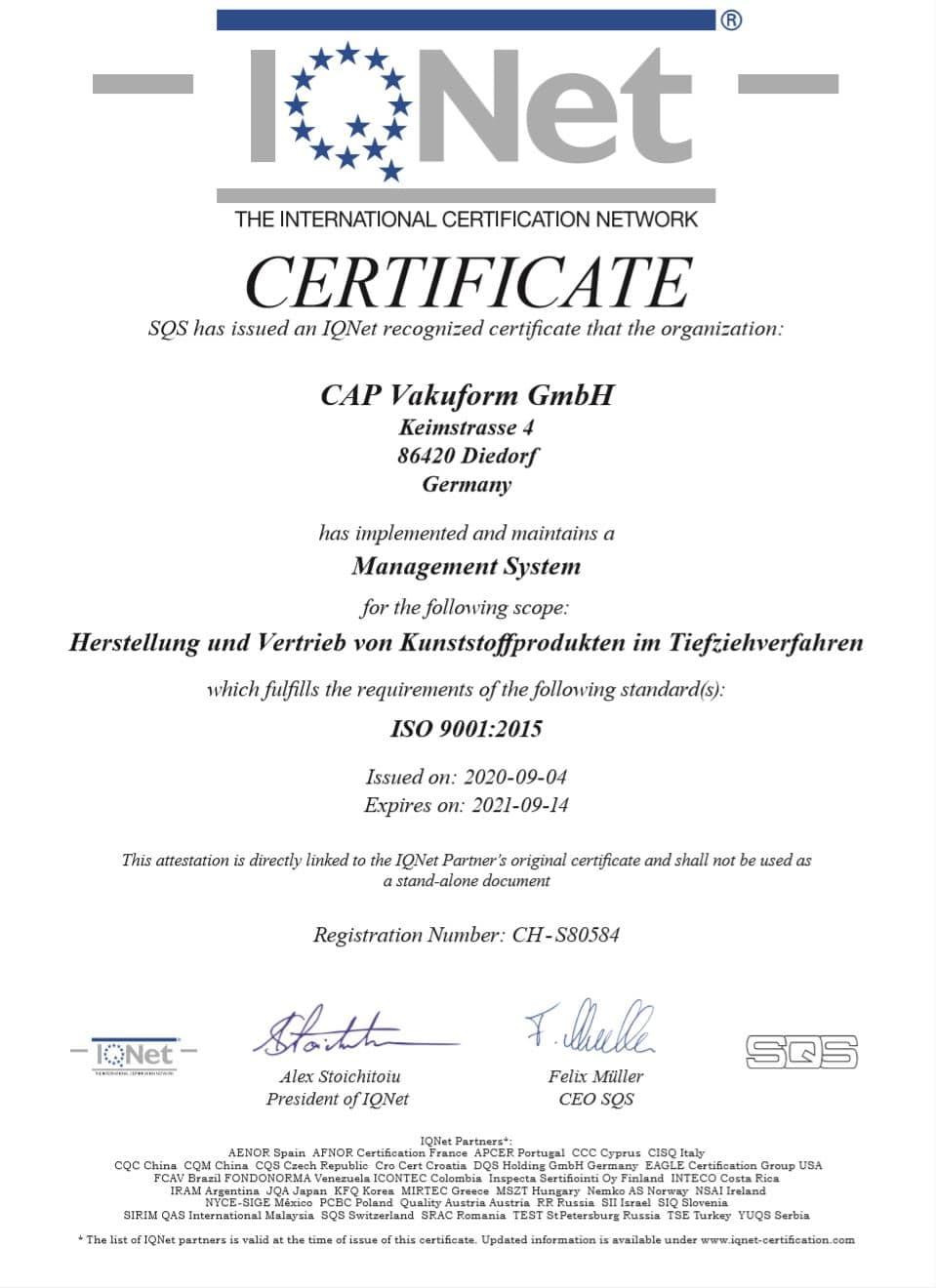 Zertifikat für das Einrichten eines MAnagement Systems in der CAP Vakuform GmbH