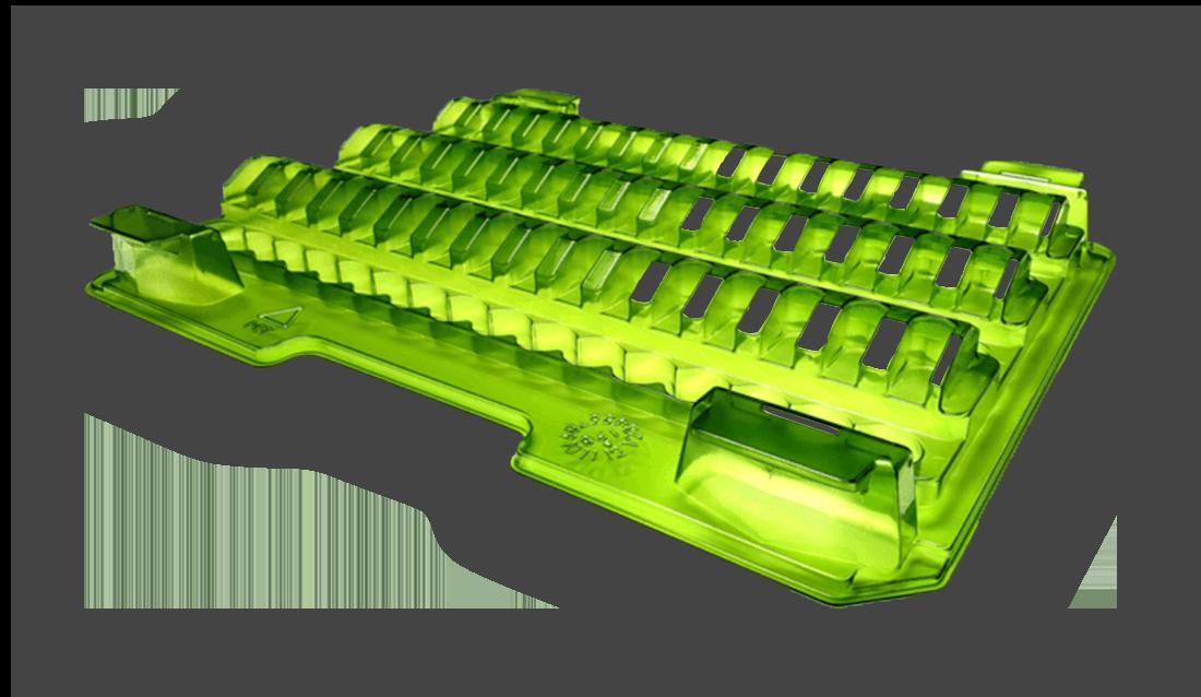grüner Werkstückträger aus Plastik mit mehreren Slots zur Produktaufbewahrung