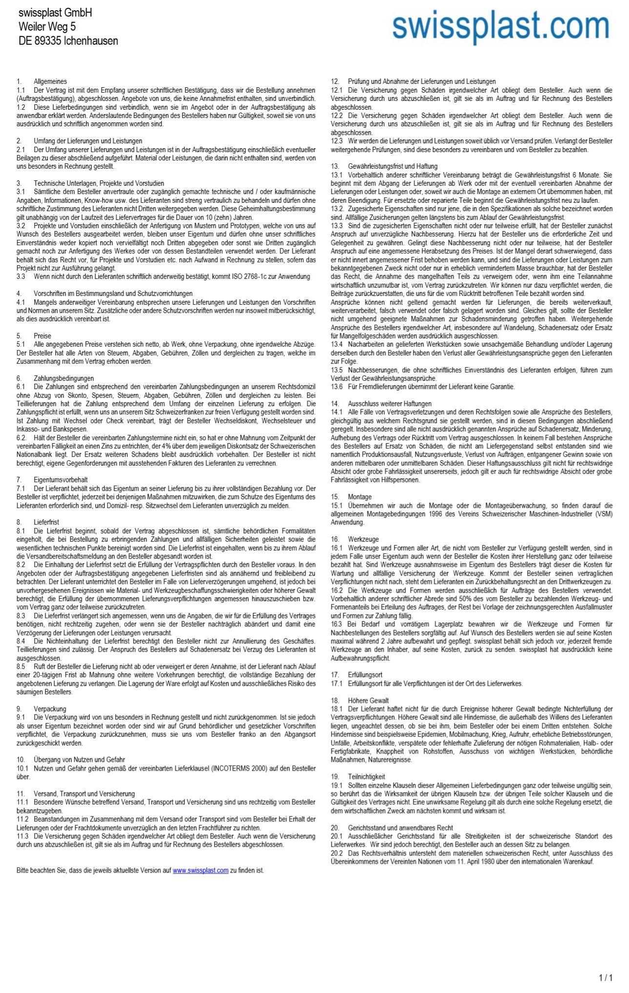 Die allgemeinen Geschäftsbedingungen der swissplast GmbH