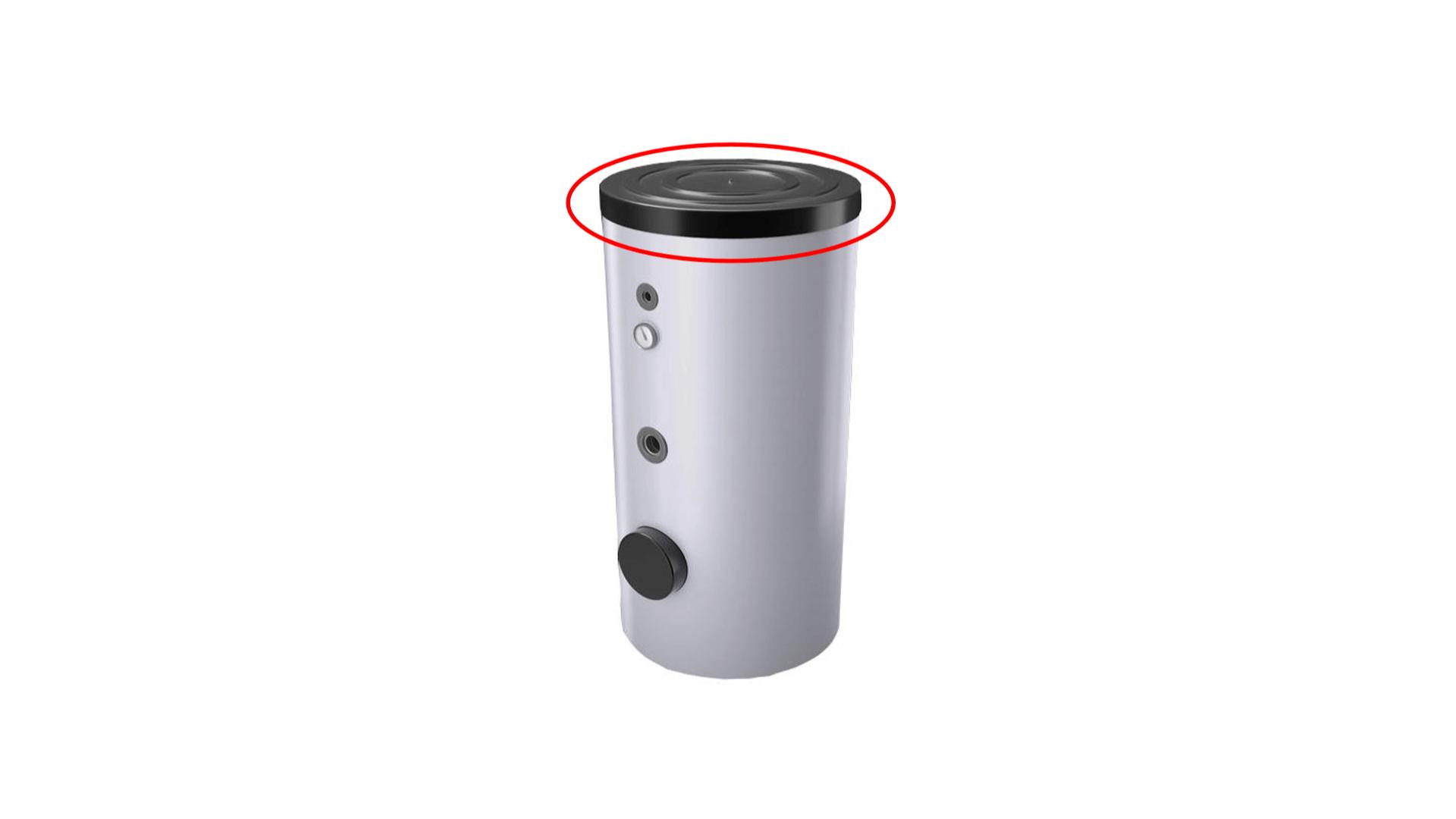 schwarze Kunststoff-Abdeckkappen für silbernen Wasserpeicher & Boiler