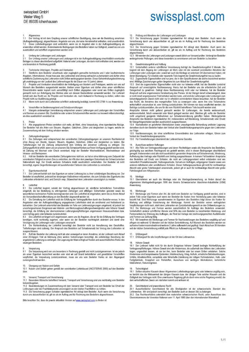 swissplast GmbH terms of service