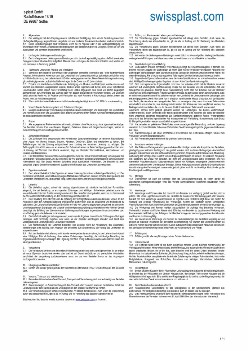 General Terms and Conditions s-plast GmbH Gotha
