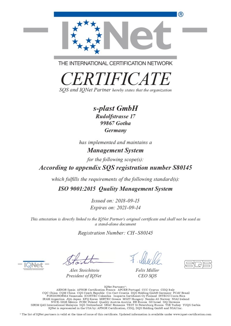 Certification for the implementation of a management system s-plast GmbH