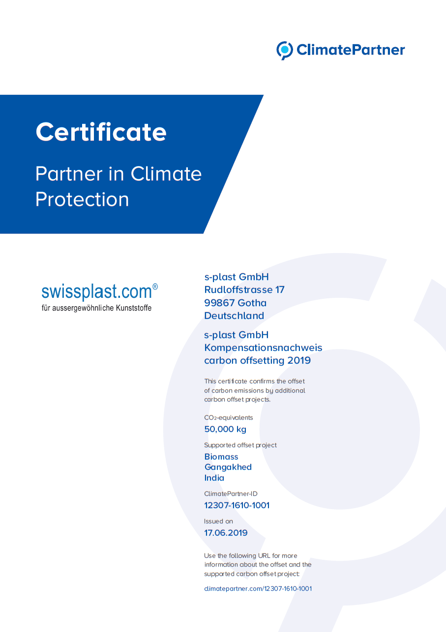 s-plast GmbH Certificate for 150 tons of Carbon Dioxide Offsetting