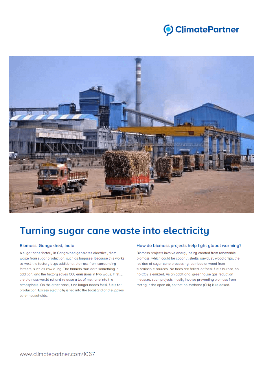 swissplast AG supports a project that turns sugar cane into electricity