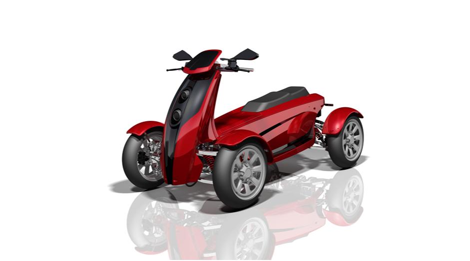 Konzeptmoell eines roten Elektroquads mit dem namen Jetflyer
